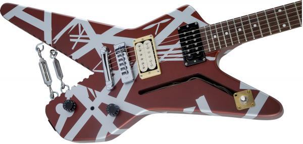 Guitare électrique solid body Evh                            Striped Series Shark - burgundy with silver stripes