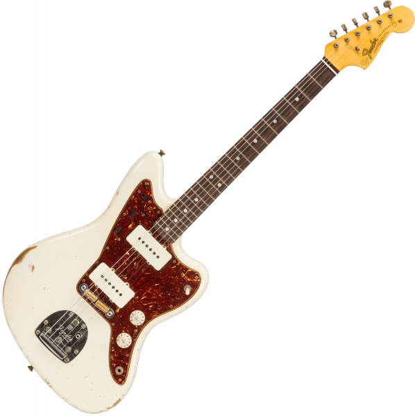 Guitare électrique solid body Fender Custom Shop 1965 Jazzmaster Ltd #CZ547448 - Journey man relic aged olympic white