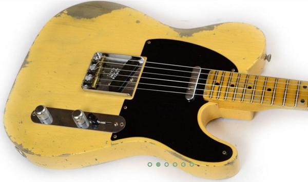 Guitare électrique solid body Fender Custom Shop 1952 Telecaster - heavy relic nocaster blonde