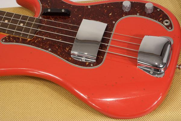 Basse électrique solid body Fender Custom Shop 1962 Precision Bass - journeyman relic fiesta red