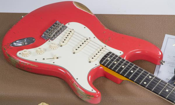 Guitare électrique solid body Fender Custom Shop Stratocaster 1960 #R81934 - relic fiesta red