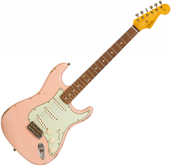 Guitare électrique solid body Fender Custom Shop 1960 Stratocaster #CZ546917 - Relic shell pink