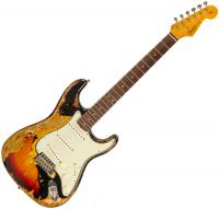 Guitare électrique solid body Fender Custom Shop 1963 Stratocaster Ltd CZ541335 - Super heavy relic black over 3-color sunburst