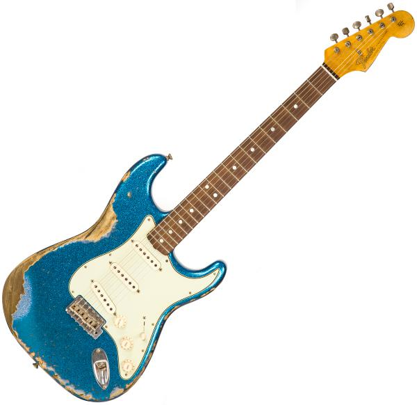Guitare électrique solid body Fender Custom Shop 1965 Stratocaster Namm 2019 Ltd #CZ539427 - heavy relic aged blue sparkle