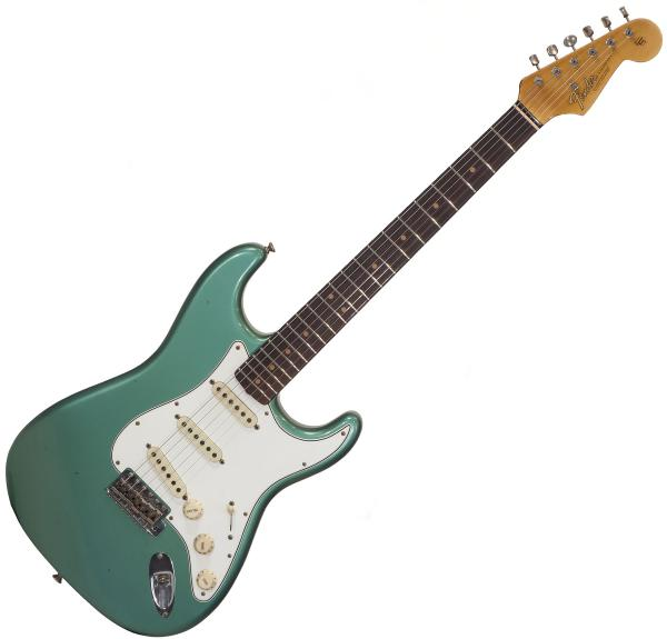 Guitare électrique solid body Fender Custom Shop 1964 Stratocaster Ltd 2018 - journeyman relic sage green metallic
