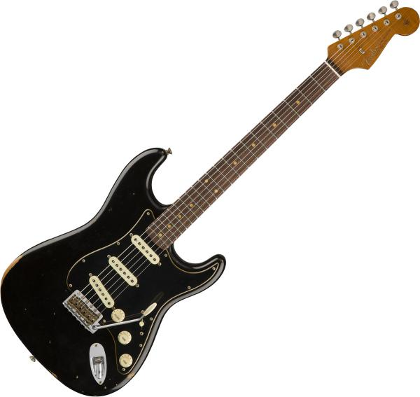 Guitare électrique solid body Fender Custom Shop Roasted Dual-Mag Stratocaster - relic black