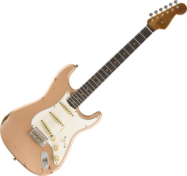 Guitare électrique solid body Fender Custom Shop Roasted Tomatillo Strat Ltd - relic aged dirty shell pink
