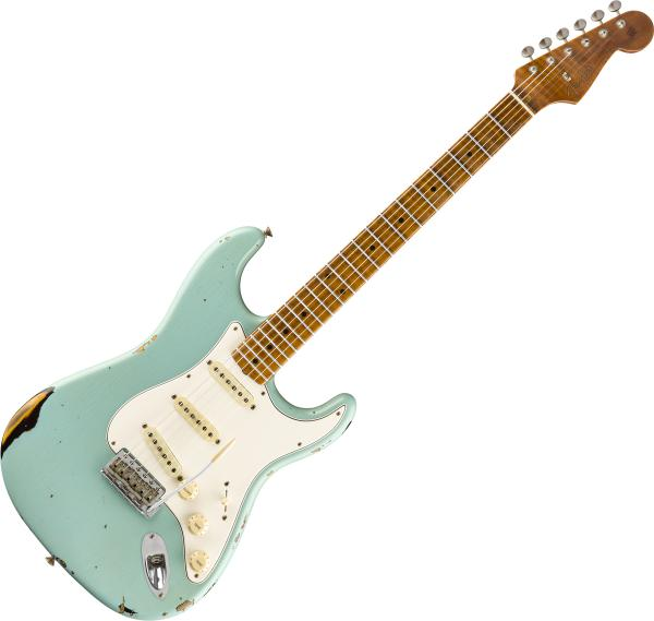 Guitare électrique solid body Fender Custom Shop Roasted Tomatillo Strat Ltd - Relic aged daphne blue ov. 2-color sunburst