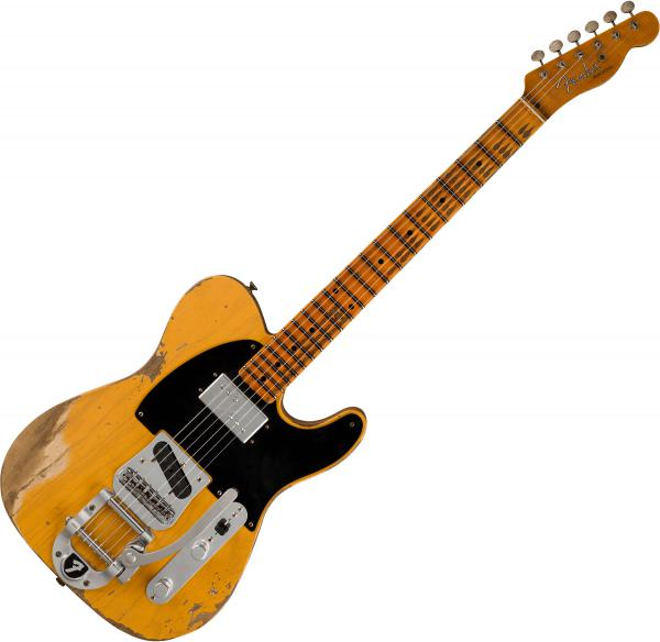 Guitare électrique solid body Fender Custom Shop Cunife Blackguard Telecaster Ltd - Heavy relic butterscotch blonde