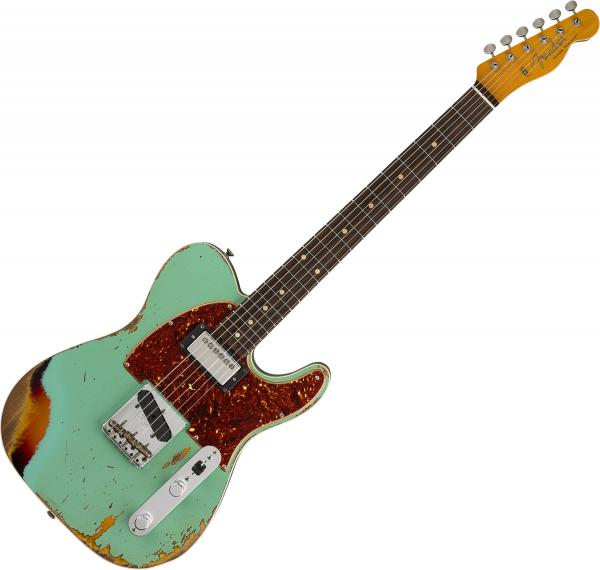 Guitare électrique solid body Fender Custom Shop 60's HS Telecaster Custom Ltd - Heavy relic aged surf green over 3-color sunburst