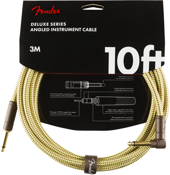 Câble Fender Deluxe Instrument Cable, Straight/Angle, 10ft - Tweed
