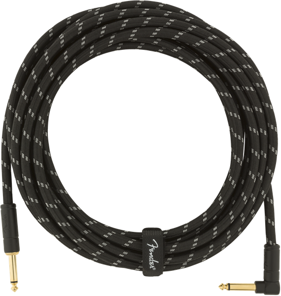 Câble Fender Deluxe Instrument Cable, Straight/Angle, 18.6ft - Black Tweed