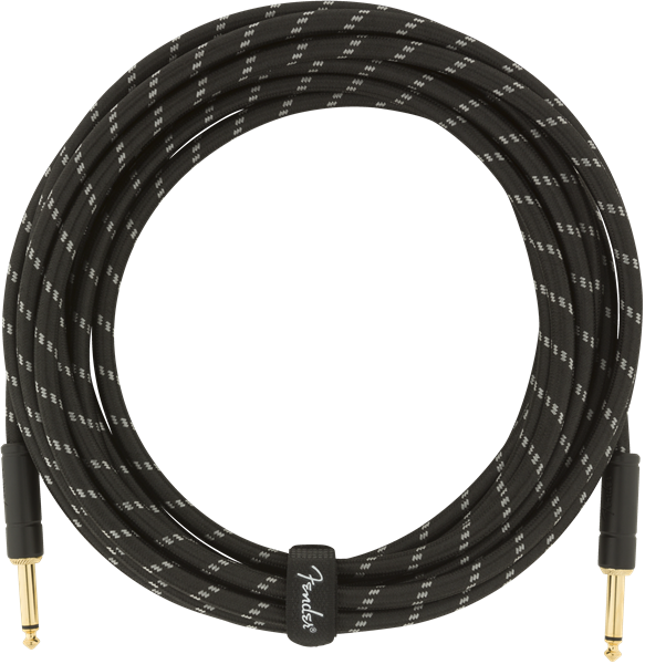 Câble Fender Deluxe Instrument Cable, Straight/Straight, 18.6ft - Black Tweed