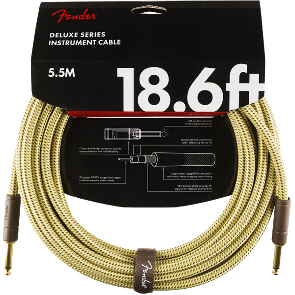 Câble Fender Deluxe Instrument Cable, Straight/Straight, 18.6ft - Tweed