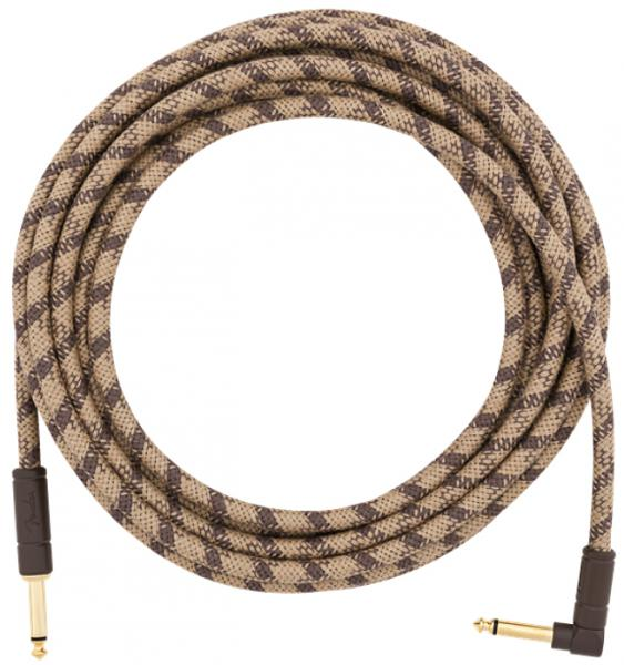 Câble Fender Festival Pure Hemp Instrument Cable, Straight/Angle, 18.6ft - Brown Stripe