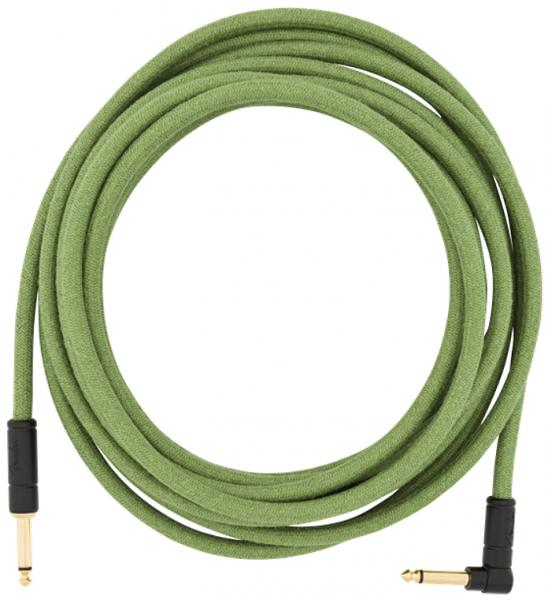 Câble Fender Festival Pure Hemp Instrument Cable, Straight/Angle, 18.6ft - Green