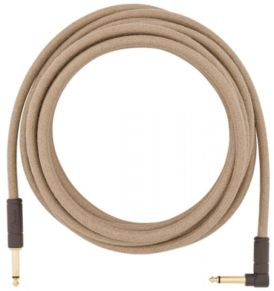 Câble Fender Festival Pure Hemp Instrument Cable, Straight/Angle, 18.6ft - Natural