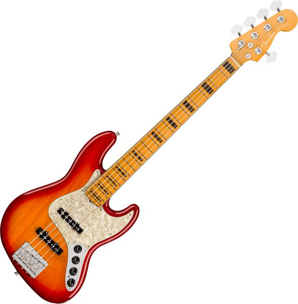 Basse électrique solid body Fender American Ultra Jazz Bass V (USA, MN) - plasma red burst
