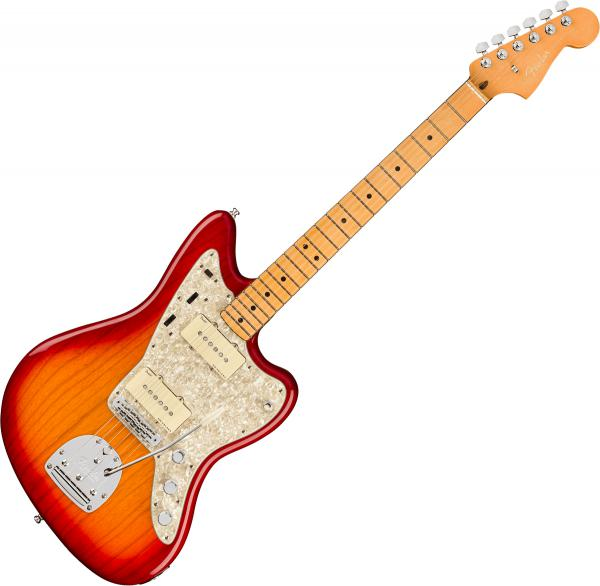 Guitare électrique solid body Fender American Ultra Jazzmaster (USA, MN) - plasma red burst