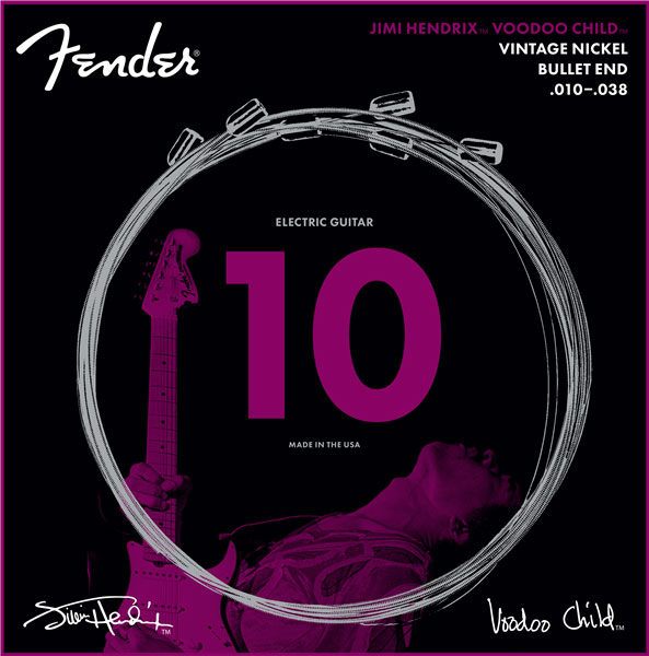 Cordes guitare électrique Fender Jimi Hendrix Voodoo Child Guitar String Bullet Nickel 10-38