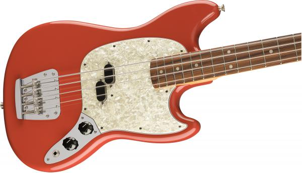 Basse électrique solid body Fender Vintera 60's Mustang Bass (MEX, PF) - fiesta red
