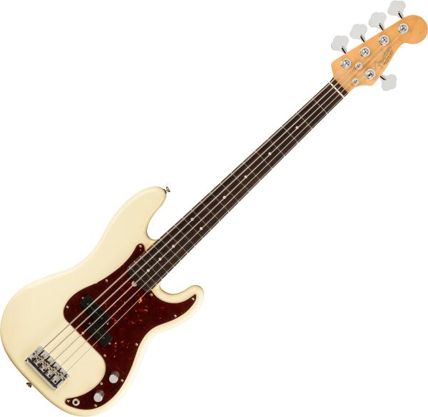 Basse électrique solid body Fender American Professional II Precision Bass V (USA, RW) - Olympic white