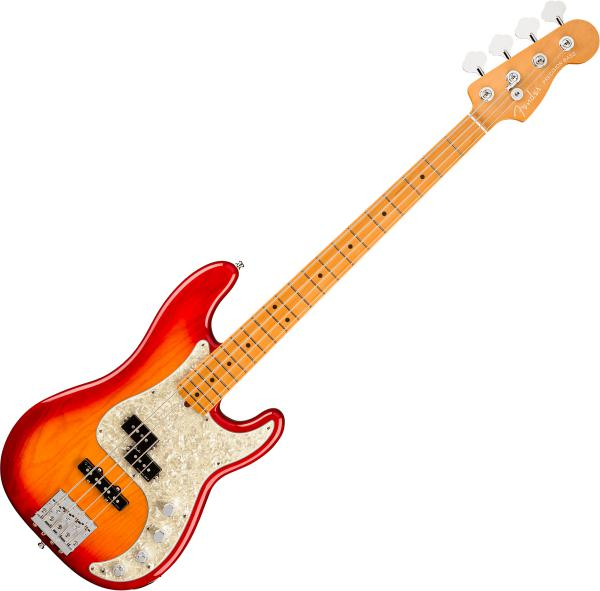 Basse électrique solid body Fender American Ultra Precision Bass (USA, MN) - plasma red burst