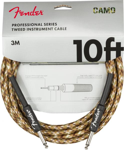 Câble Fender Professional Series Instrument Cable, Straight/Straight, 10ft - Desert Camo