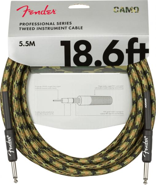 Câble Fender Professional Series Instrument Cable, Straight/Straight, 18.6ft - Woodland Camo