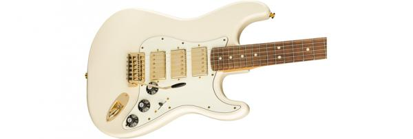 Guitare électrique solid body Fender Mahogany Blacktop Stratocaster HHH Ltd (PF, MEX) - olympic white gold hardware