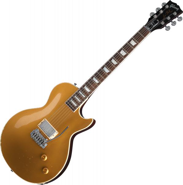 Guitare électrique solid body Gibson Custom Shop Joe Perry Gold Rush Les Paul Axcess - Aged antique gold