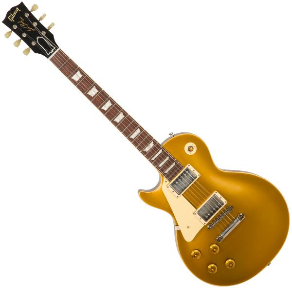 Guitare électrique solid body Gibson Custom Shop 1957 Les Paul Goldtop Gaucher #77121 - vos antique gold