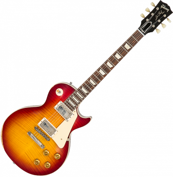Guitare électrique solid body Gibson Custom Shop M2M 60th Anniversary 1959 Les Paul Standard #993521 - Heavy Aged Vintage Cherry Burst