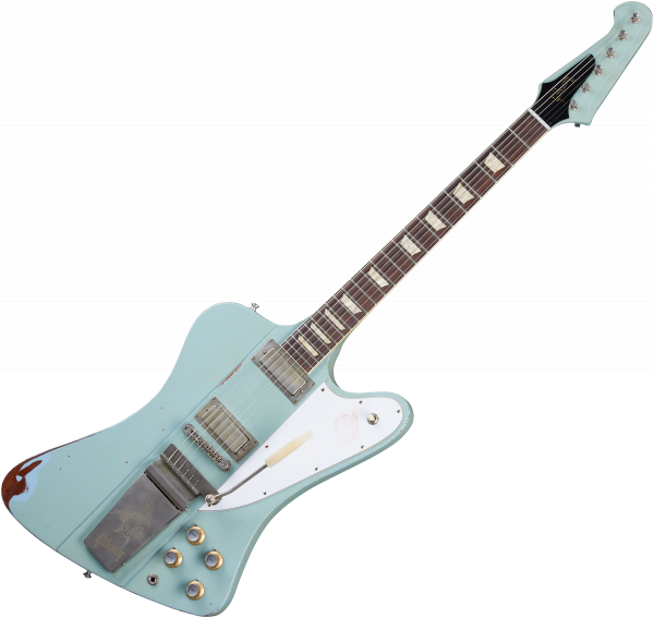 Guitare électrique solid body Gibson Custom Shop Murphy Lab 1963 Firebird V With Maestro Vibrola - Heavy aged antique frost blue