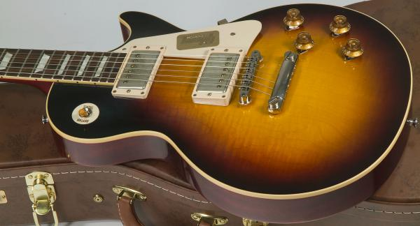 Guitare électrique solid body Gibson Custom Shop Standard Historic 1958 Les Paul Standard #R861071 - vos faded tobacco