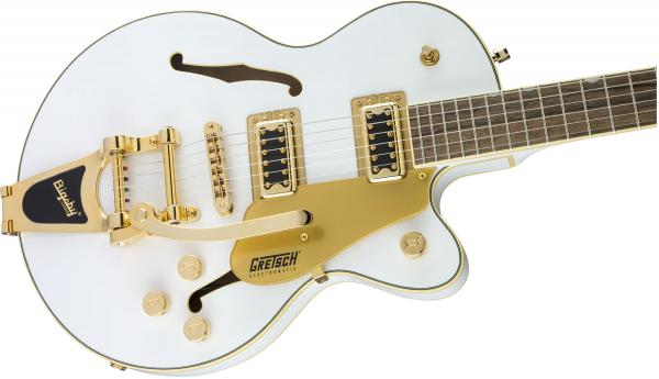 Guitare électrique hollow body Gretsch G5655TG Electromatic Center Block Jr Ltd - snow crest white