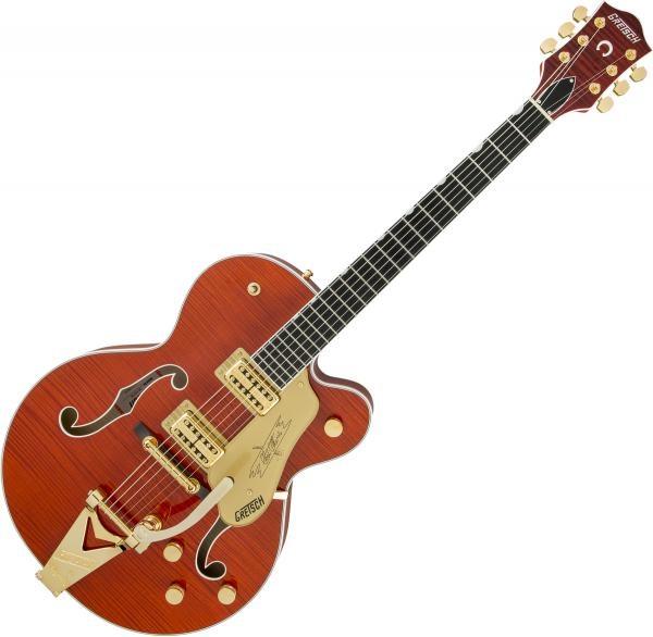Guitare électrique hollow body Gretsch G6120TFM Players Edition Nashville Professional Japan - orange stain