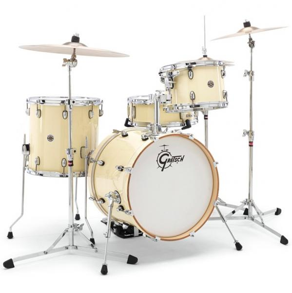 Batterie acoustique jazz Gretsch J484WC Catalina Club Jazz 18 - 4 fûts - gloss white chocolate