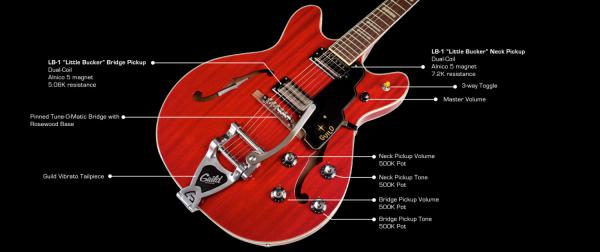 Guitare électrique hollow body Guild Starfire V Bigsby - cherry red