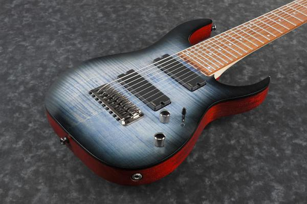Guitare électrique baryton Ibanez RGIR9FME FDF Iron Label - faded denim burst flat