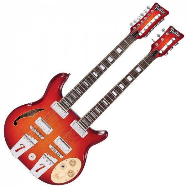 Guitare électrique double manches Italia Rimini Twin 6 / 12 - Cherry sunburst