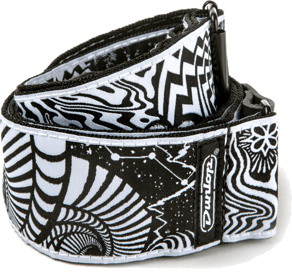 Sangle courroie Jim dunlop ILD02 I Love Dust Vortex Black / White