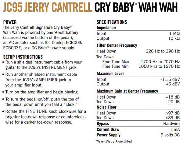 Pédale wah / filtre Jim dunlop JC95 Jerry Cantrell Signature Cry Baby Wah