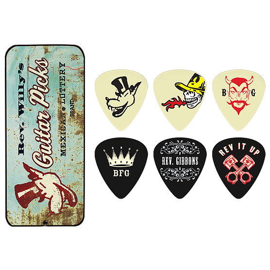 Médiator & onglet Jim dunlop Boîte Metal Collector Reverend Willy 6 Médiators Dur