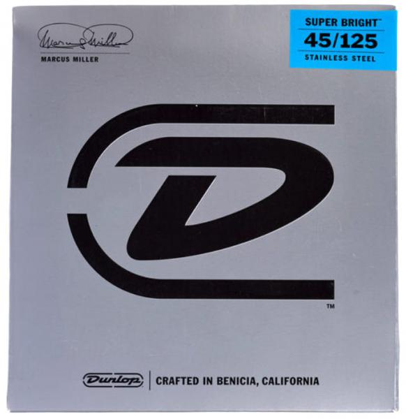 Cordes basse électrique Jim dunlop Marcus Miller Super Bright Bass Strings 5-Set 45-125 - jeu de cordes