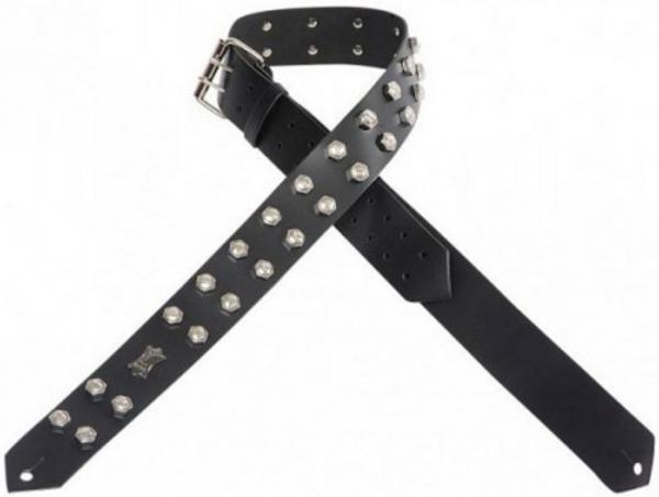 Courroie sangle Levy's PM28-2N Garment Leather Guitar Strap - Black