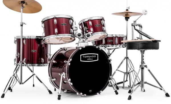 Batterie acoustique jazz Mapex TND5844FT TORNADO JAZZ 18 - 5 fûts - Wine red