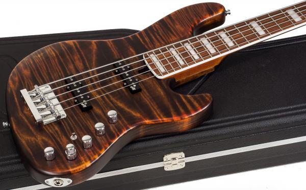 Basse électrique solid body Mayones guitars Custom Shop Jabba Custom 5 (#JAB1807215) - antique brown satin