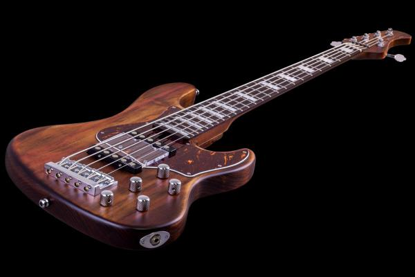 Basse électrique solid body Mayones guitars Hadrien Feraud Jabba 5 - antique brown