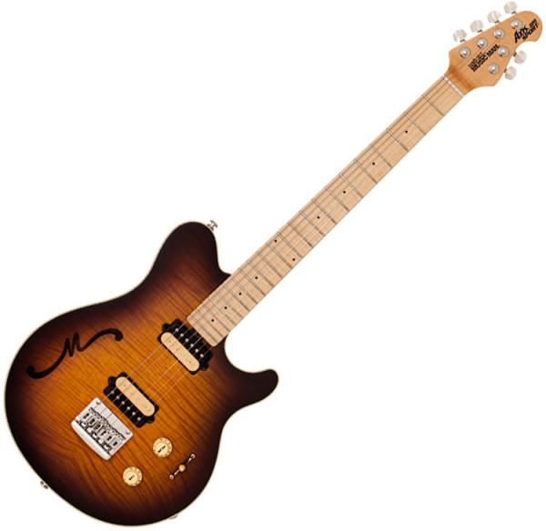 Guitare électrique solid body Music man Axis Super Sport Semi-Hollow (Hardtail ,MN) - Tobacco burst